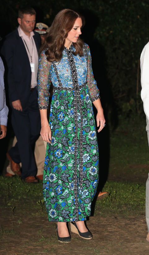 Kate Middleton in India | Kaziranga | Day 3 | Anna Sui | Blue Green Maxi Dress | Bihu | Assamese Festival