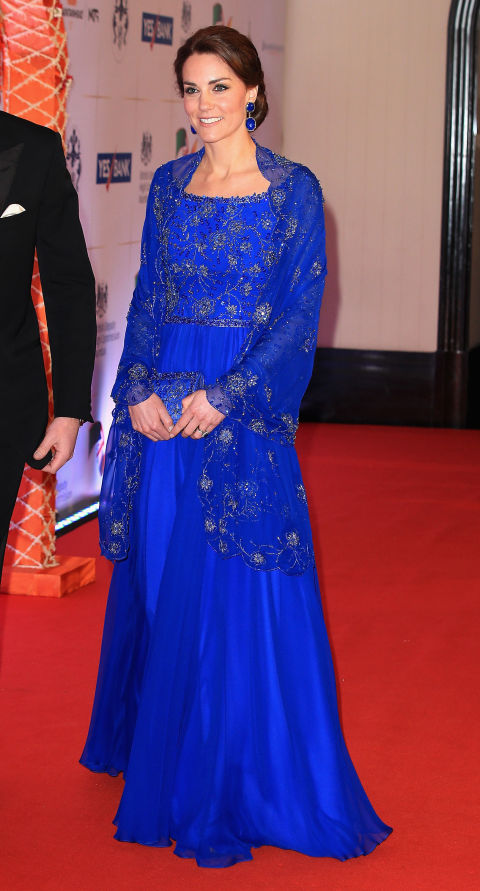 Kate Middleton's outfit for the gala at Taj Palace. Aishwarya was there. Shahrukh was there. Madhuri was there. But Kate, of course stole the show. She is a duchess after all.