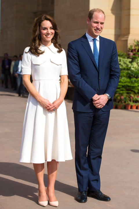 This white Emilia Wickstead midi was worn by Kate Middleton on Day 2 of her trip to India. Love the collar and pocket details.