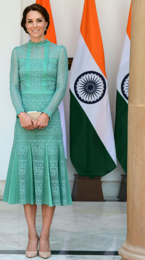 Kate Middleton in India | Green Alice Temperly Dress | Day 3 | New Delhi | Meeting with Prime Minister Narendra Modi | Alice Temperly