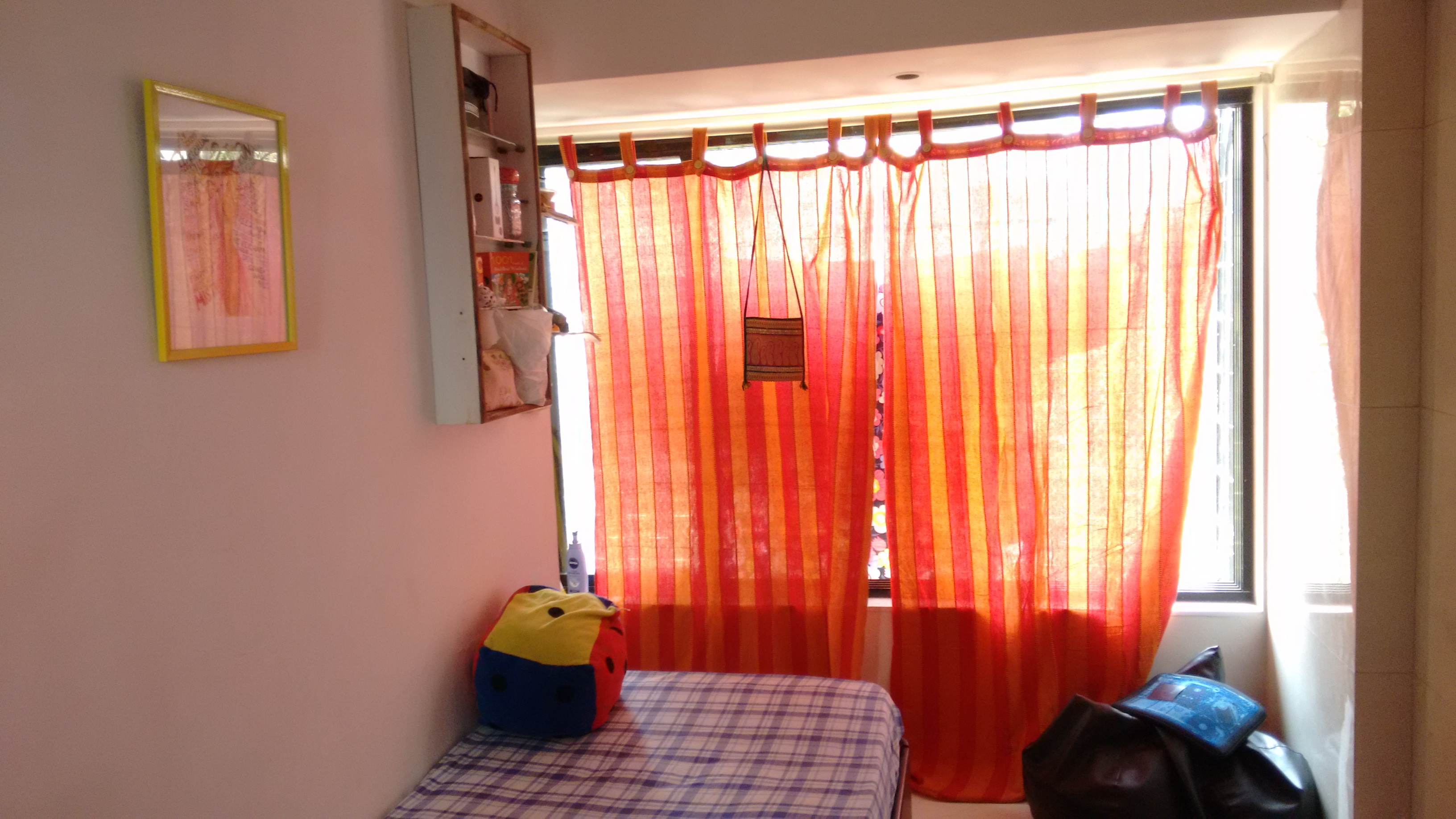My own room | Orange curtains from http://www.ebay.in/ and Fabindia bedcover from Snapdeal | Chai High is an Indian Fashion Blog started by Shivani Krishan