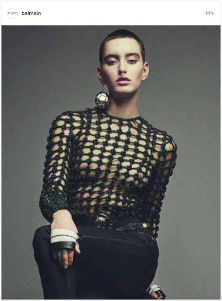 Balmain does a mesh top and football earrings for their Instagram page | Don't miss the model's septum piercing | Chai High is an Indian Fashion Blog started by Shivani Krishan