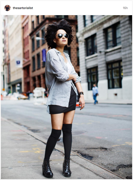 Black knee-high socks, black boots, grey shirt and an afro | The perfect look | Chai High is an Indian Fashion Blog started by Shivani Krishan