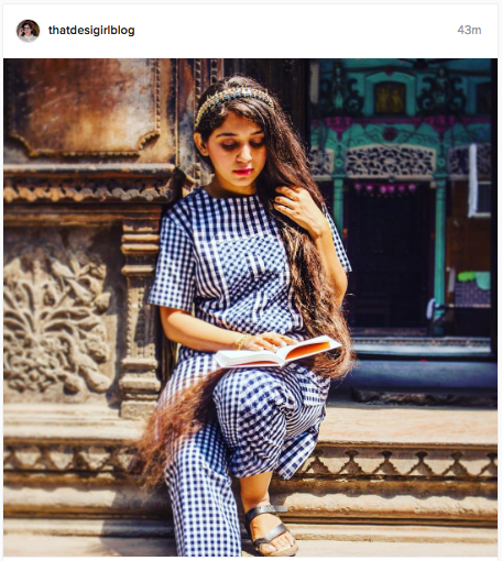 That Desi Girl teams a happy check jumpsuit with a hair band | Her beautiful long hair is the 'desi' in every picture | Chai High is an Indian Fashion blog started by Shivani Krishan