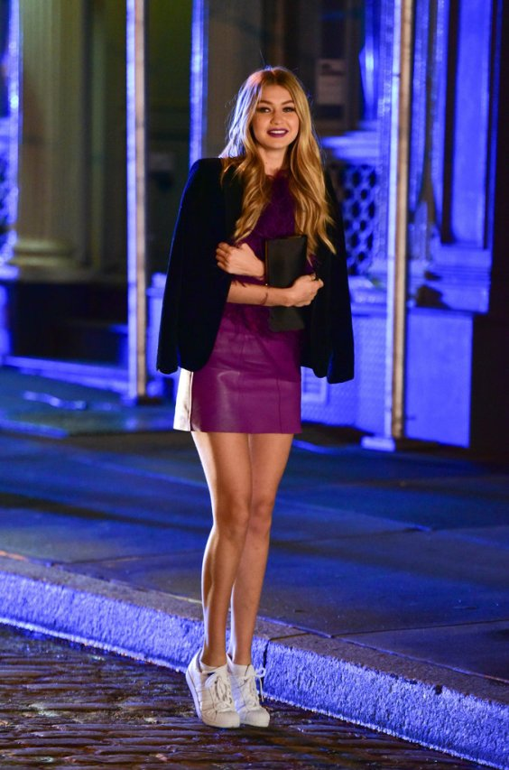 Gigi Hadid wears her white sneakers with a shocking purple dress | Chai High is an Indian Fashion blog started by Shivani Krishan