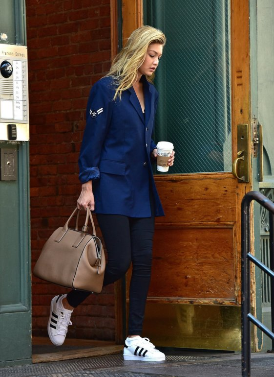 Gigi Hadid wears her white sneakers with a blazer and slacks | Chai High is an Indian Fashion Blog started by Shivani Krishan