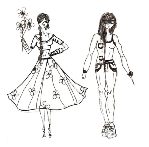 Rural Indian Fashion Versus Urban Indian Fashion | An illustration by Shivani Krishan | Chai High is a fashion blog started by Shivani Krishan