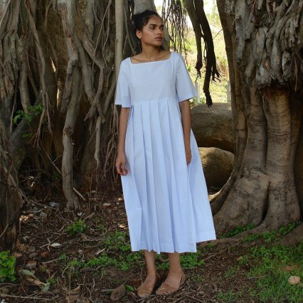 A cloudy blue, organic cotton pleated midi dress by The Summer House | Chai High is an Indian Fashion Blog started by Shivani Krishan