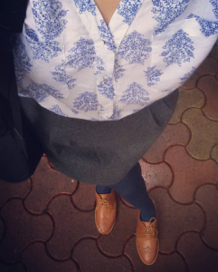 Pairing a block printed shirt with a woollen Forever 21 skirt, brogues and navy stockings | Chai High is an Indian Fashion Blog started by Shivani Krishan