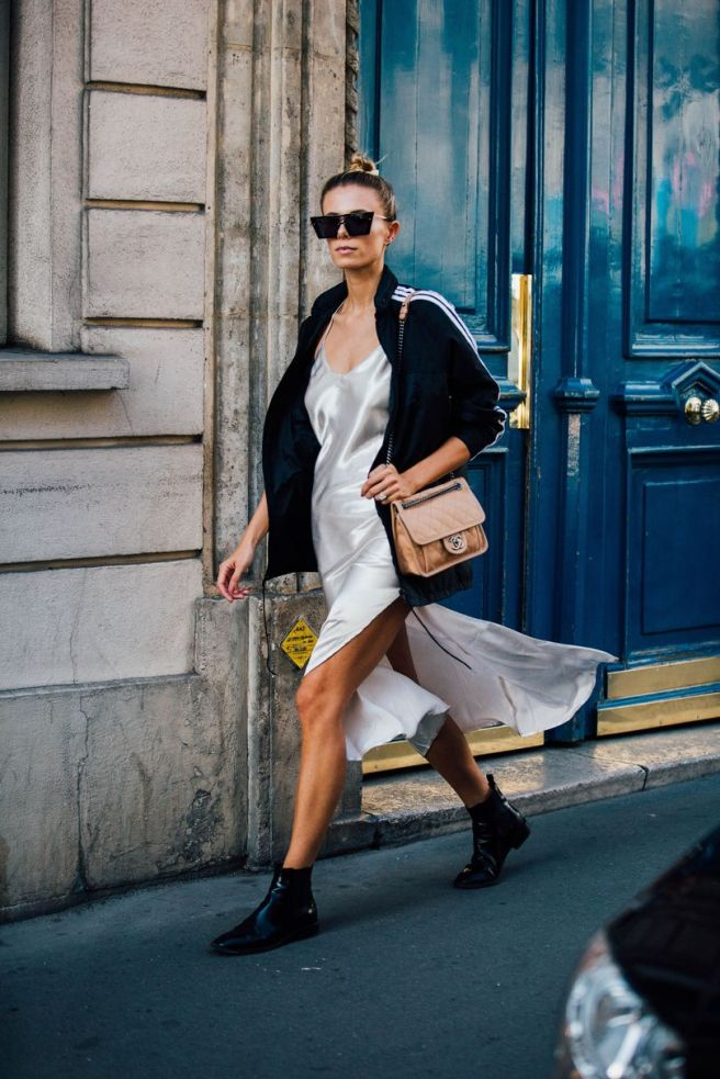 SLIP DRESS WITH BLACK ANKLE BOOTS | PARIS FASHION WEEK STREET STYLE 2016 | VOGUE UK | CHAI HIGH IS AN INDIAN FASHION BLOG STARTED BY SHIVANI KRISHAN
