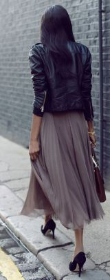 Grey Feminine Tulle Skirt worn with black leather and pumps | Chai High is an Indian Fashion Blog started by Shivani Krishan
