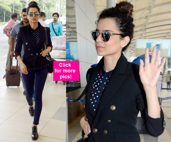 Navy blazer, skinny pants, black derby shoes, polka dot shirt and black sunglasses worn by Kangana Ranaut | Chai High is an Indian Fashion Blog started by Shivani Krishan