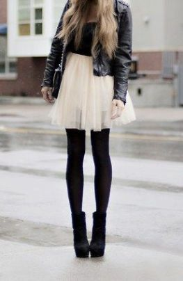 White tulle feminine miniskirt worn with black leather and black tights | Chai High is an Indian Fashion Blog started by Shivani Krishan