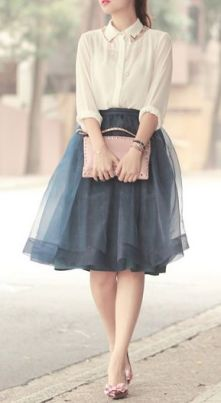 Grey Feminine Tulle Skirt worn with white collar shirt | Chai High is an Indian Fashion Blog started by Shivani Krishan