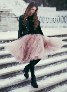 Pink Feminine Tulle Skirt worn with black leather   Chai High is an Indian Fashion Blog started by Shivani Krishan