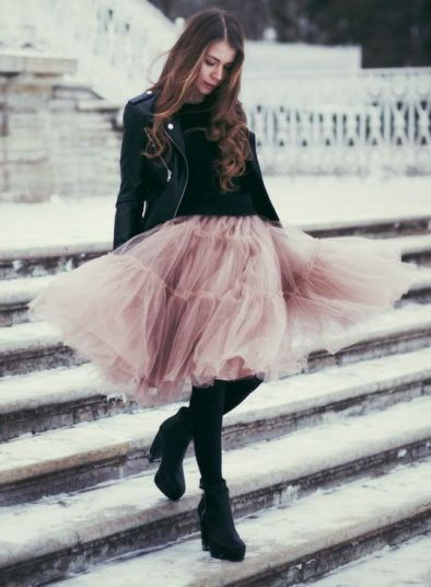 Pink Feminine Tulle Skirt worn with black leather | Chai High is an Indian Fashion Blog started by Shivani Krishan