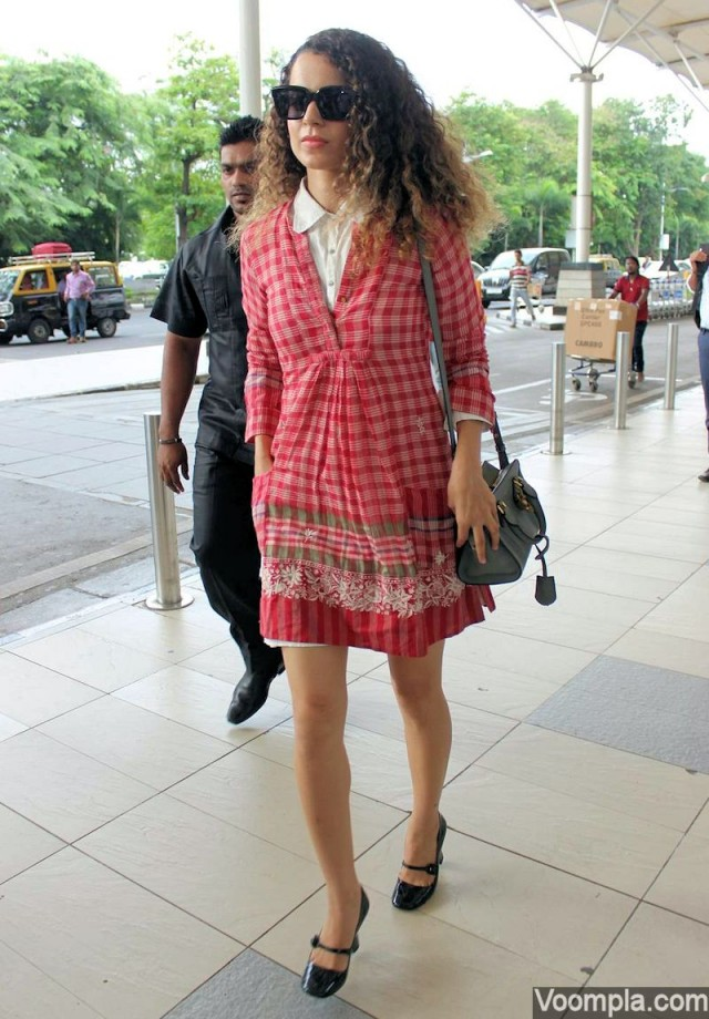 Kangana wears a white shirt dress under a red printed dress | Chai High is an Indian Fashion Blog started by Shivani Krishan