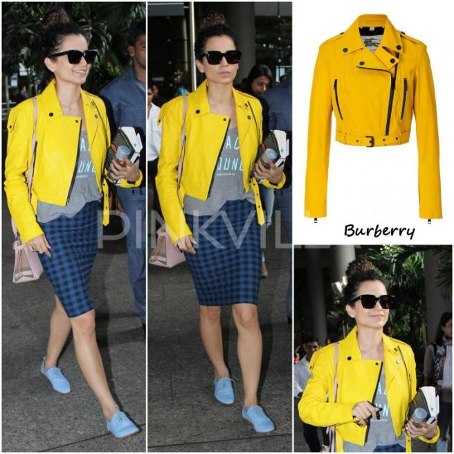 Kangana Ranaut wears a blue gingham check skirt with a graphic printed tee, yellow jacket and pale blue Oxford shoes | Chai High is an Indian Fashion Blog started by Shivani Krishan