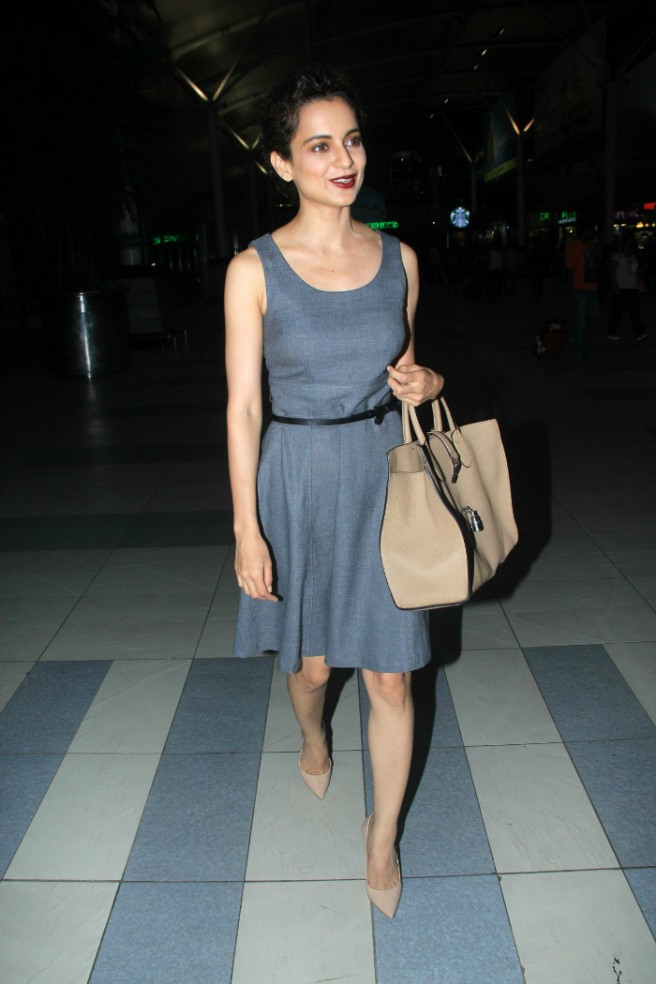 Kangana Ranaut wears a grey sleeveless dress with neutral accessories and a dark lip | Chai High is an Indian Fashion Blog started by Shivani Krishan
