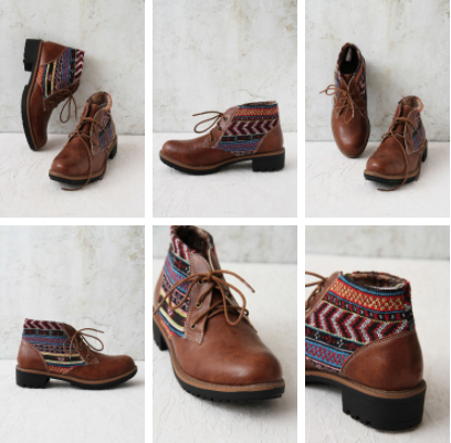 Tan Lace-up boots by Vajor.com | Fabric detailing | Textile | Derby Lacing | Chai High is an Indian Fashion Blog started by Shivani Krishan