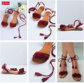 Fluffy, tasselled, fringed sandals in a deep wine and burgundy colour found on Vajor.com | Chai High is an Indian Fashion Blog started by Shivani Krishan