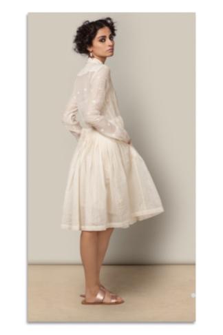 Chanderi Shirt Dress in Ivory from Nicobar   Chai High is an Indian Fashion Blog started by Shivani Krishan