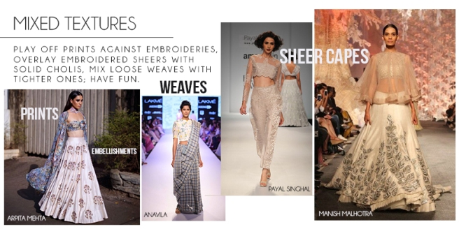 Fabrics | Mixed Textures | Embroideries | Embellishments | Indianwear | Indian Designers | 2017 Trends | Inspiration for Fashion Designers | Fashion Design Ideas | Fashion Week Inspo | Pinterest Fashion Ideas | Design your dream saree and lehenga | Chai High is an Indian Fashion Blog started by Shivani Krishan | Bridal Trends | Wedding Fashion Ideas