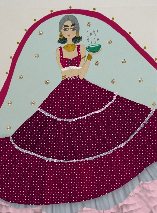 Polka Dotted Cotton Lehenga | Designed and Illustrated by Shivani Krishan | Chai High is an Indian Fashion Blog started by Shivani Krishan | This illustration has also been shared on Shivani Krishan's Instagram handle - chai_high_illustrated