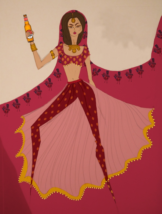 Bride on Beer | A fashion illustration by Shivani Krishan | A pink sheer lehenga over a blockprinted pair of deep maroon trousers | Chai High is an Indian Fashion Blog started by Shivani Krishan