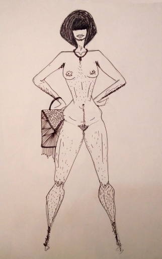 A fashion illustration made using pen and ink | a nude woman with body hair | a display of strength | Chai High is an Indian Fashion Blog started by Shivani Krishan