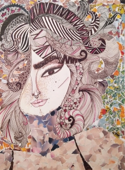 Mixed media illustration of a woman's face | An attempt to normalise body and facial hair in women in fashion | Collage and Pen and Ink drawing | Chai High is an Indian Fashion Blog created by Shivani Krishan