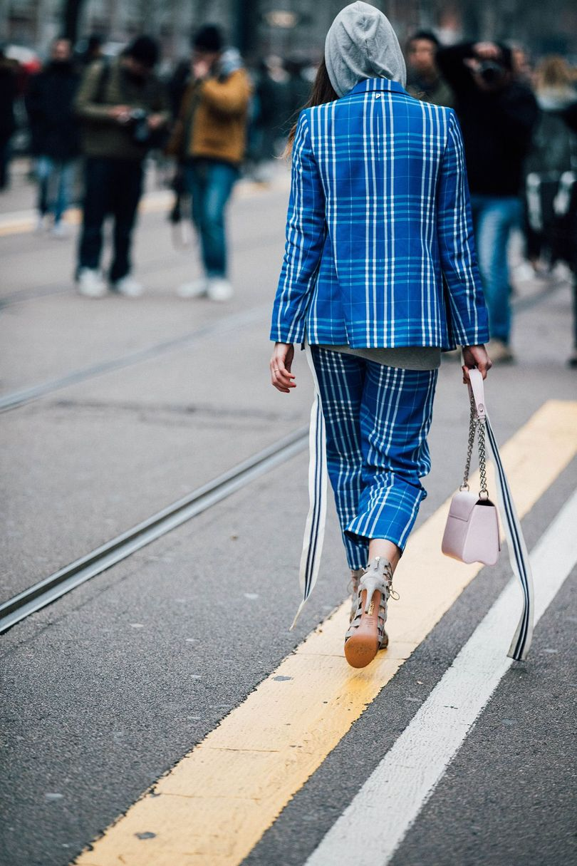 The Check Trouser Suit as seen during the Milan Fashion Week | Street Style Photography by JONATHAN DANIEL PRYCE for Vogue.co.uk | Chai High is an Indian Fashion Blog started by Shivani Krishan