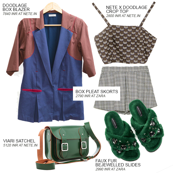Look 4 of the 4 looks curated by Shivani Krishan of Indian Fashion Blog - Chai High. This look features a box blazer by Doodlage, a crop top by Doodlage and Nete, a pair of box pleat skorts and green faux fur bejewelled slides by Zara, and a green satchel by Viari