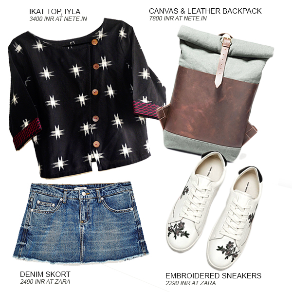 Look 1 of the 4 looks curated by Shivani Krishan of Chai High - an Indian Fashion Blog, featuring an Ikat top by Iyla, a canvas and leather backpack, a denim skort by Zara and a pair of white embroidered sneakers by Zara.