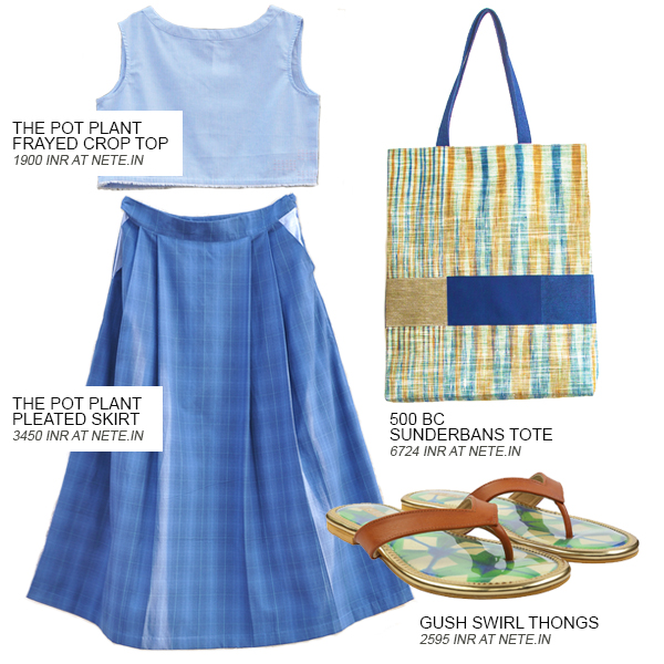 Look 2 of the 4 looks curated by Shivani Krishan of Chai High - an Indian Fashion Blog, featuring a blue frayed crop top by The Pot Plant, a blue pleated skirt by The Pot Plant, a tote by the 500 BC and tan leather thong sandals by Gush, all found on Nete.in