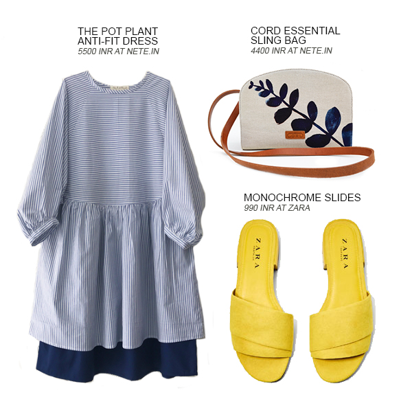 Look 3 of the 4 looks curated by Shivani Krishan of Chai High - an Indian Fashion Blog, featuring an anti fit dress, sling bag and slides by Zara, The Pot Plant, Nete.in and Cord